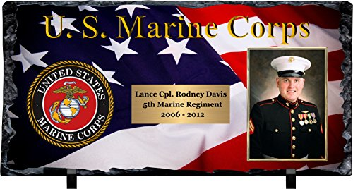Slate Award Plaque - Personalized Marine Corps Slate Stone Plaque with Photograph & Engraving. All Branches Availiable!