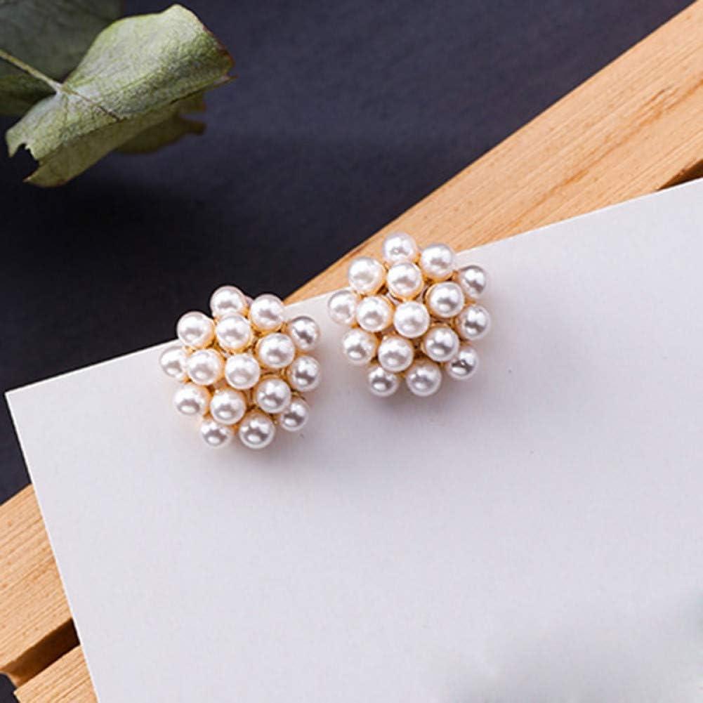 ZHQJY Pendientes de Perlas en Forma de hemisferio para Mujeres Pendientes de Bolas pequeñas Vintage para Bodas