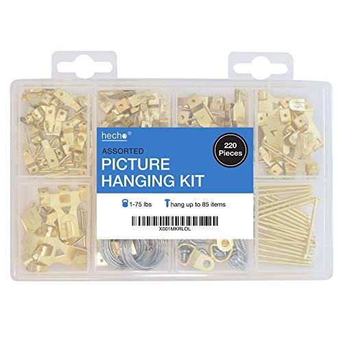 Assorted Picture Hanging Kit | 220 Piece Assortment with Wire, Picture Hangers, Hooks, Nails and Hardware for Frames (E Picture)
