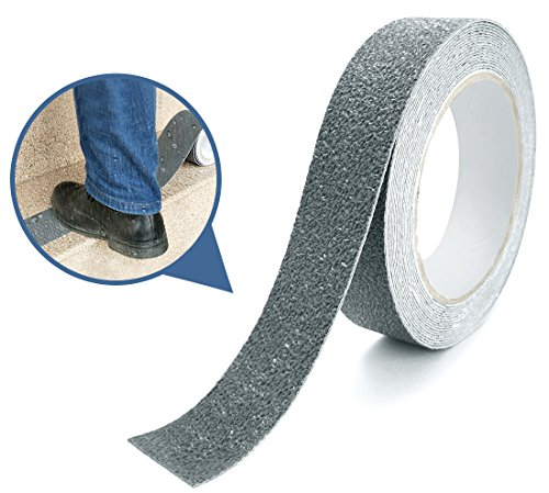 Marsway Anti Slip Treads Tape 18 ft Length x 1 inch Width Grey Removable Adhesive Abrasive Sticker for Bathroom, Ramps, Stairs, Treads (Outdoor, Indoor)