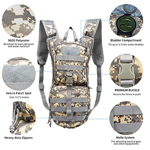 vAv YAKEDA Tactical Molle Hydration Pack Backpack with 2.5L TPU Water Bladder Water Backpack for Biking, Hiking, Running,Hunting, Walking and Climbing
