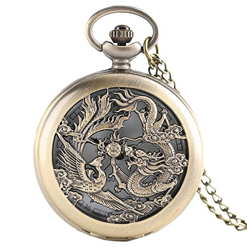 Dragon and Phoenix Play Beads Men's Pocket Watch, Chinese Dragon Phoenix Slim Pocket Watch, Chain Fortune Symbol Special Gift for (Dragon Phoenix Symbol)