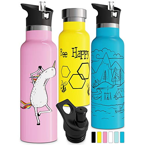 Double Insulated Water Bottle with BPA Free Straw Lid & Sports Cap | Stainless Steel Eco Friendly Non Sweat Durable Finish 20oz / 25oz Metal Hydro Thermos (25 oz, Yellow)