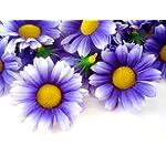 24-Silk-Purple-White-Edge-Gerbera-Daisy-Flower-Heads-Gerber-Daisies-175-Artificial-Flowers-Heads-Fabric-Floral-Supplies-Wholesale-Lot-for-Wedding-Flowers-Accessories-Make-Bridal-Hair-Clips-Headbands-D