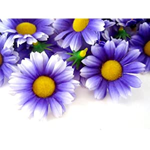 "(24) Silk Purple White Edge Gerbera Daisy Flower Heads , Gerber Daisies - 1.75"" - Artificial Flowers Heads Fabric Floral Supplies Wholesale Lot for Wedding Flowers Accessories Make Bridal Hair Clips Headbands Dress 14"