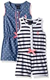 U.S. Polo Assn.. Toddler Girls' Romper, Pack Stripes Printed Romper Peacoat, 4T