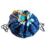 Play Mat and Toy Storage Bag - Durable Floor Activity Organizer Mat - Large Drawstring Portable Container for Kids Toys, Lego, Books - 55'', Surf