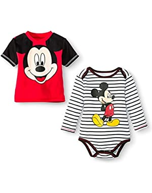 Disney Newborn Boys' Mickey Mouse Bodysuit and Tee Set