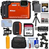 Nikon Coolpix W300 4K Wi-Fi Shock & Waterproof Digital Camera (Orange) + 64GB Card + Battery & Charger + Diving LED Video Light + Buoy + Cases + Tripod Kit