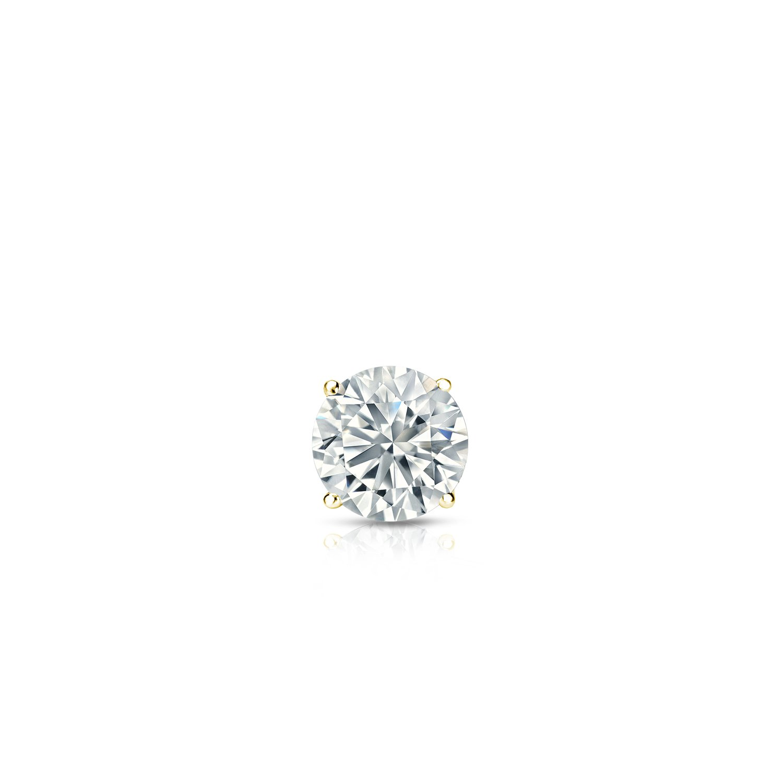 0.08cttw, Premium, VS2-SI1 Push-Back 4-Prong Basket Diamond Wish 18k Gold Round SINGLE Diamond Stud Earring