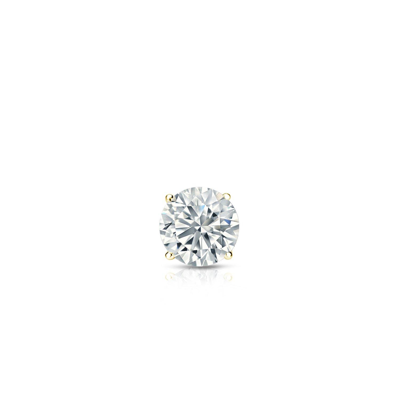 Diamond Wish 18k Yellow Gold Round SINGLE Diamond Stud Earring (0.08cttw, Good, I2-I3) 4-Prong Basket, Screw-Back