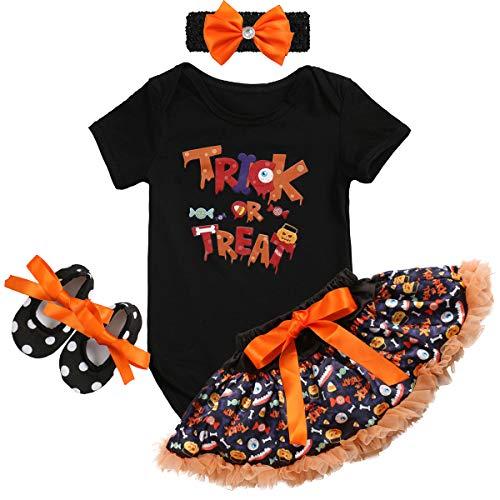 IBTOM CASTLE Baby Girls Halloween Costume Tutu Dress Pumpkin Romper Dress Jumpsuit Outfits Boutique Kids Clothing Newborn Photography Props 4PCS Black Trick or Treat 0-3 Months -