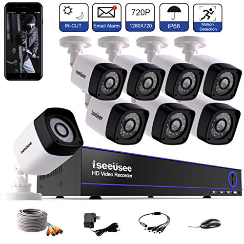 Outdoor/Indoor Home Surveillance Video Security Camera System with 100ft Night Vision, Weatherproof,IR CUT, Motion Alert, Smartphone, PC Remote Access (8ch 1080N DVR +8pcs 720P Cameras) ISEEUSEE (Alert Digital Digital Camera)