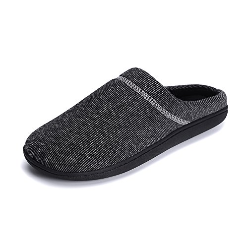 QYTBM Mens Memory Foam Anti-Slip Knitted Breathable House Slippers(Black,L) by QYTBM