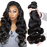 Puddinghair Unprocessed Virgin Brazilian Human Hair Brazilian Body Wave 3 Bundles Hair Extensions Grade 7A Human Hair Bundles Natural Black Color(16 18 20 Inch)