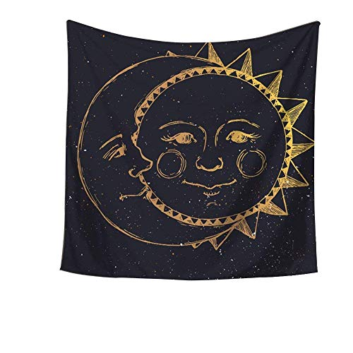 Celestial Indian Gold Fractal Sun and Moon Celestial Energy Mystic Tapestry Wall Hanging Throw Tie Dye Hippie Hippy Boho Bohemian Wall Art Window Curtain Table Cover Bedspread Beach Sheet HYC20-US #1