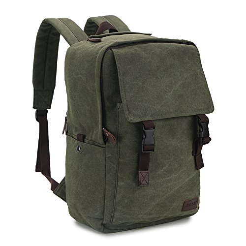 RAVUO Canvas Backpack for Men,15.6 17 inch Water Resistant Vintage Backpack Casual Rucksack Large Bookbag Daypacks for Travel Outdoor Women Army (Safari Backpack)