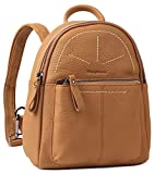 Borgasets Women's Leather Backpack Daypack Travel Bag Multi-function Bags Brown