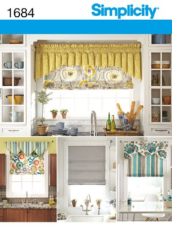 Window Valance Patterns - Simplicity 1684 Roman Shades and Valances Sewing Pattern, Fits 35'' and 40'' Wide Windows