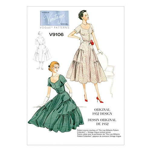 1950s Sewing Patterns | Dresses, Skirts, Tops, Mens 1952 Vogue Ladies Sewing Pattern 9106 Original 1952 Vintage Dress Design  AT vintagedancer.com