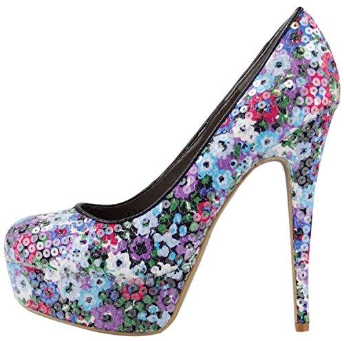 Neue Damen-Plattform Gericht Schuhe High Heel klobige Sandalen Frauen Partei Pumpen Schnäppchen Schuhe F9511DJ1-Black Sequins