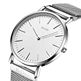 Mens Women Unisex Quartz Analog Watch Waterproof Business Luxury Fashion Simple Design Wristwatch Magnetic Band (Silver)