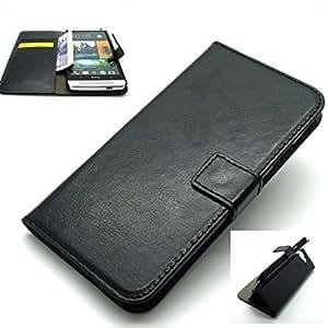 De lujo retro VINTAGE cartera de cuero mobile soporte funda para HTC UNO M7 - Negro