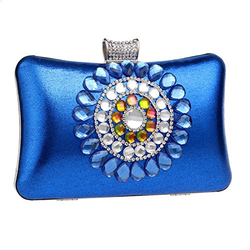 Purse Clutch Bags Luxurious for Evening Blue Womens Hard Case Blue Flada Party wUqFaYx