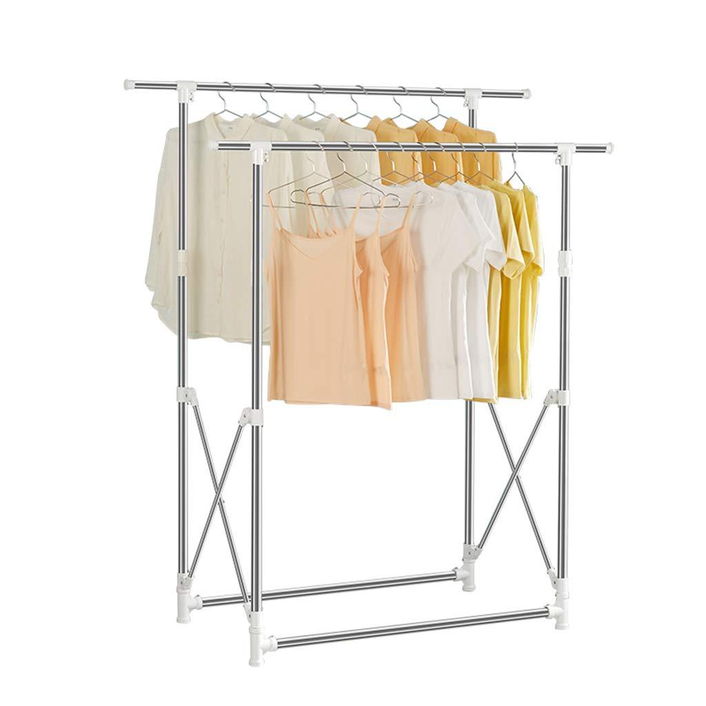 ダブルロッド乾燥ラック、引き込み式バルコニー衣服ポール大型乾燥スペース便利な保管 (色 : 白) B07H6L4Y9N 白