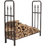 firewood storage box - Sunnydaze Bronze 4 Foot Indoor Outdoor Decorative Firewood Log Rack