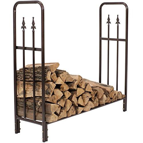 Sunnydaze 4-Foot Firewood Log Rack, Indoor/Outdoor Decorative Wood Storage Holder for Fireplace, Bronze