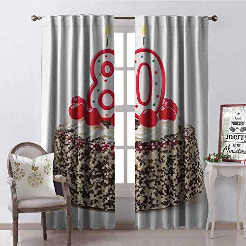 Price comparison product image Gloria Johnson 80th Birthday 99% Blackout Curtains Birthday Party Cake with Sweet Tasty Cherries Sprinkles and Candles Image for Bedroom Kindergarten Living Room W42 x L63 Inch Multicolor