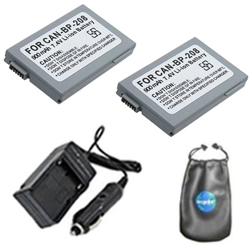 Bp 315 Replacement Battery (amsahr ValuePack (2 Count): Digital Replacement Digital Camera and Camcorder Battery PLUS Mini Battery Travel Charger for Canon BP-208, Elura100, MV X430, Optura S1 - Includes Lens Accessories Pouch)