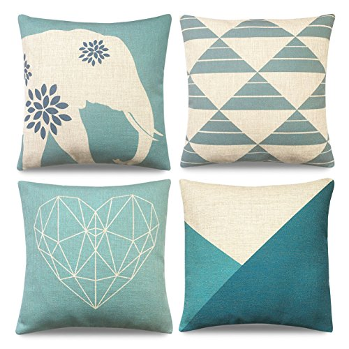 Safeeye Cotton Linen Geometric Decorative Throw Pillow Cover