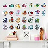 ZRSE Cartoon Alphabet Wall Decals for Kids,Removable Educational Wall Stickers for Kids Nursery Bedroom Living Room