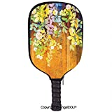 AngelDOU Watercolor Flower Lightweight Neoprene Durable Pickleball Paddle Cover Soft Colored Spring Flowers and Leaves on Misty Retro Background Nature Art Holder Sleeve Case Protector.Multi