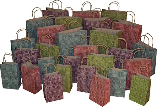Assorted Gift Bags - Kraft Gift Bags, 28ct bulk set, assorted sizes