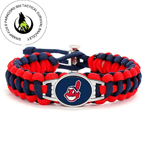 Swamp Fox Premium Style Cleveland Indians Baseball Team Adjustable Paracord Survival - Bracelets Stainless Steel Cleveland