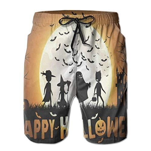 Men's Summer Beach Shorts Swim Trunks Halloween Children Trick Or Treat Men Junior Swimming Trunks Household Pants with Pockets Quick Dry -