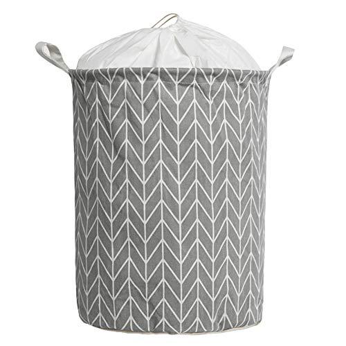 Large Size Laundry Hamper Storage Basket with Waterproof of Coating Canvas Fabric Kids Storage Bins (Gray)