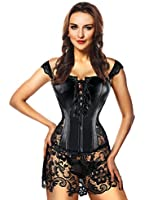 Kimring® Women's Steampunk Gothic Faux Leather Bustier Corset with Lace Skirt