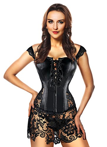 Kimring Women's Steampunk Gothic Sexy Faux Leather Shoulder Strap Bustier Corset with Lace Skirt Black X-Large