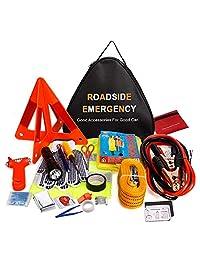 Adakiit Kit de emergencia para coche, multifuncional, kit de asistencia de emergencia 40 en 1 con cables de puente, cuerda de remolque, triángulo, linterna, medidores de presión de neumáticos, martillo de seguridad, etc.