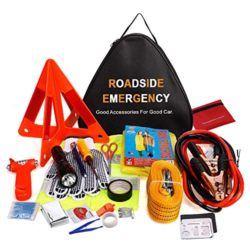 - Adakiit Car Emergency Kit, Multifunctional Roadside Assistance 40-in-1 Auto Emergency Kit with Jumper Cables,Tow Rope,Triangle,Flashlight,Tire Pressure Gauges,Safety Hammer,etc