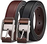 Men's Belt, Bulliant Leather Reversible Belt 1.25',One Belt Reverse for 2 Colors