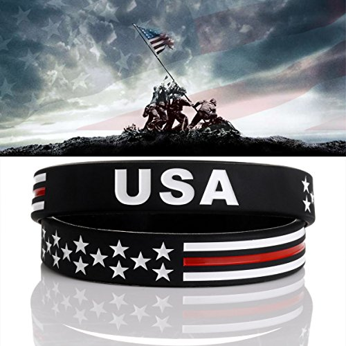 Sainstone Power of Faith USA Thin Red Line American Flag Bracelet Silicone Rubber Wristbands Americanism Partriotic Spirit Sports Holiday Gifts (Unisex)