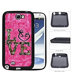 LOVE Browning Deer Head PINK Camo Tree Oak Pattern #A03 Samsung Galaxy Note II 2 N7100 Rubber Silicone TPU Cell Phone Case