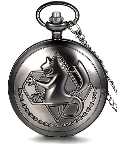 FullMetal Alchemist Edward Anime Quartz Pocket Watch Fob Chain + Gift Box (Metal Pocket Watch)