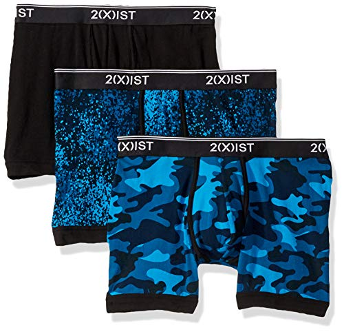 2(X)IST Men's Cotton Stretch Boxer Brief 3-Pack,Dot Camo Blue/Black/Camo,X-Large