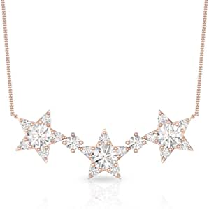 1/2 CT Round Certified Diamond Cluster Star Pendant, Three Celestial Women 14k Gold Engraved Chain Charm Pendant, Bridal Wedding Anniversary Necklaces